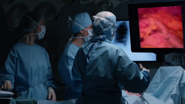 surgeon performing an endoscopic surgery - medical procedure stock videos and b-roll footage