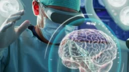 Surgeon Wearing Augmented Reality Glasses Perform Brain Surgery with Help of Animated 3D Brain Model, Using Gestures. Futuristic Theme. Close-up Shot.