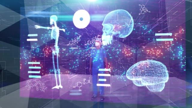 chirurg arbeitet in holographischer virtual reality 3d-touchscreen-technologie - erweiterte realität stock-videos und b-roll-filmmaterial