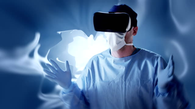 surgeon working in virtual reality glasses. medical research - anatomy stock videos & royalty-free footage