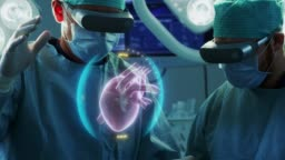Surgeons Wearing Augmented Reality Glasses Perform Heart Surgery with Help of Animated 3D Heart Model. Doing Difficult Heart Transplant Operation Using Gestures. Interactive Animation Shows Vital Signs. Close-up Shot.