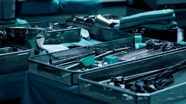 surgical tray with clean instruments ready for surgery - tray stock videos and b-roll footage