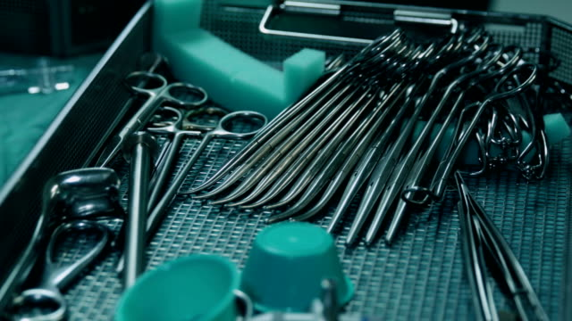 surgical tray with clean instruments ready for surgery - scalpel stock videos & royalty-free footage