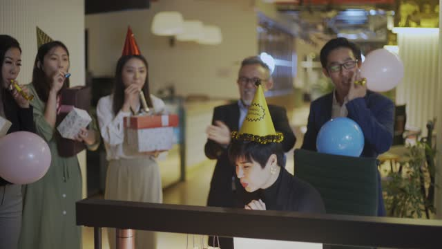 surprise office birthday party celebration - party hat stock videos & royalty-free footage
