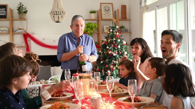 surprised grandfather pops cork on champagne at christmas - cork material stock videos & royalty-free footage
