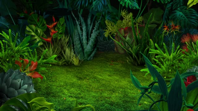 surreal animated night jungle background