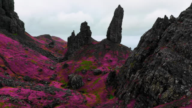 surreal drone footage of infrared landscape in scotland. - dramatic landscape stock videos & royalty-free footage