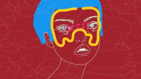 vídeos y material grabado en eventos de stock de surrealista dibujo a mano animación de dibujos animados - psicodélico