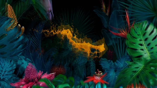 surreal jungle with splash of orange paint - psychedelic stock videos & royalty-free footage