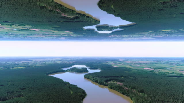 surreal lake landscape. parallel worlds - parallel stock videos & royalty-free footage
