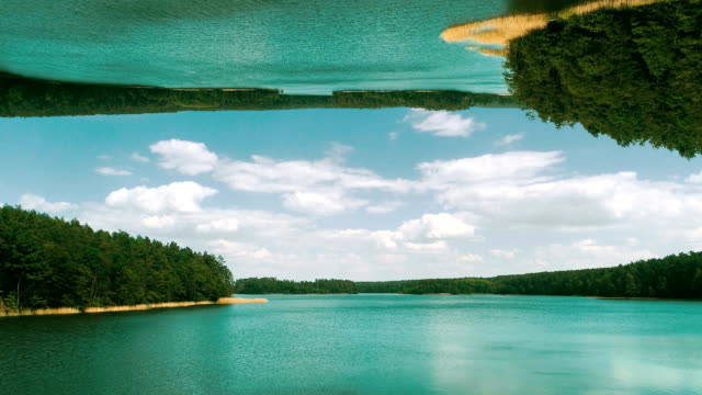 surreal lake landscape. parallel worlds - upside down stock videos & royalty-free footage