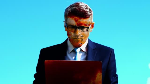 Surrealistic portrait of a businessman