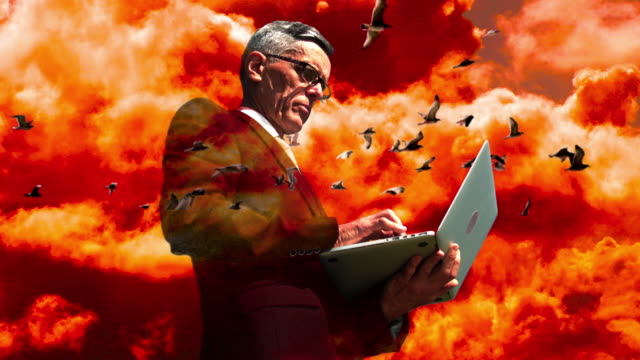 surrealistic portrait of a businessman - formation flying stock videos & royalty-free footage