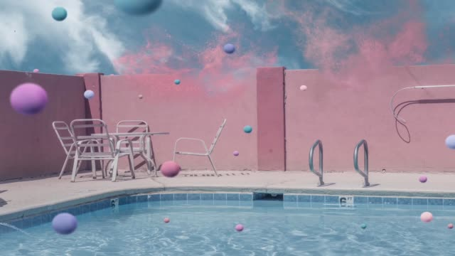 Surrealistic waterpool action