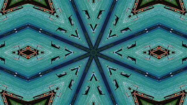 vídeos de stock e filmes b-roll de surreality abstract motion graphics background - caleidoscópio padrão