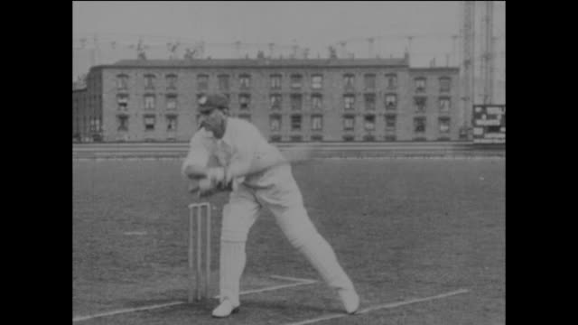 surrey and england cricketer jack hobbs demonstrating his batting skills at the kennington oval in london, circa may 1925. the action is repeated in... - oval kennington stock videos & royalty-free footage