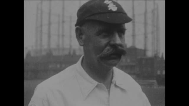 surrey and england cricketer, tom hayward at the kennington oval in london, circa may 1925. - oval kennington stock videos & royalty-free footage