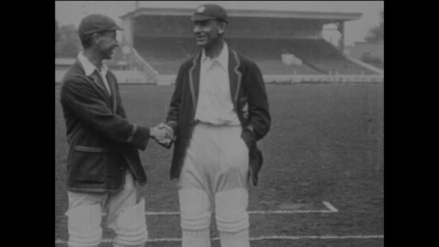 surrey and england cricketers andrew sandham and jack hobbs at the kennington oval in london, circa may 1925. - oval kennington stock videos & royalty-free footage