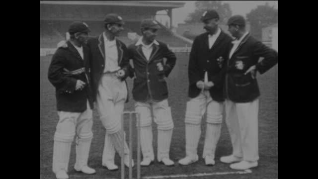 surrey and england cricketers at kennington oval, circa may 1925. left to right: herbert strudwick, jack hobbs, andrew sandham, tom hayward and bill... - oval kennington stock videos & royalty-free footage