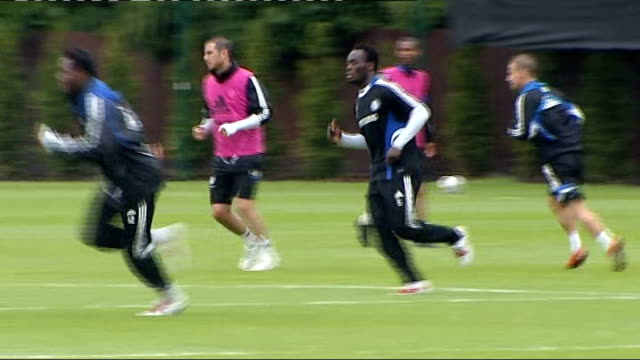 surrey cobham ext chelsea players training including frank lampard and didier drogba - cobham surrey stock videos and b-roll footage