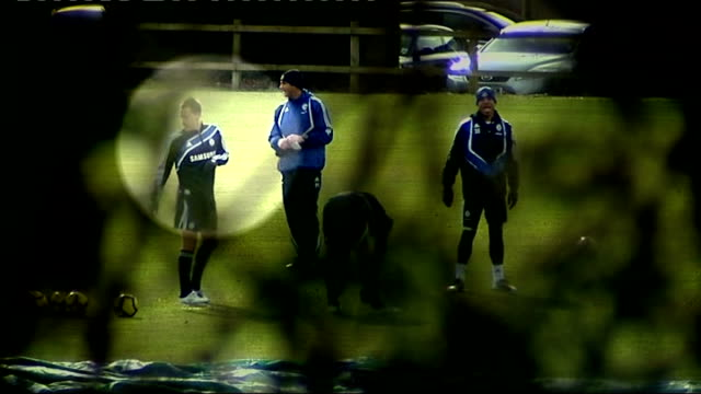 surrey cobham training ground ext john terry in training session with other chelsea players - コブハム点の映像素材/bロール