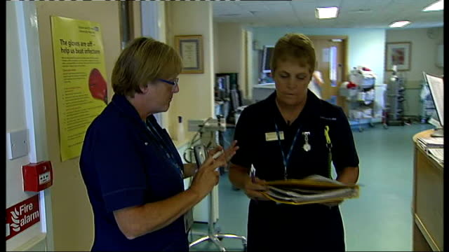 epsom general hospital: int sister elaine howlin speaking to other nurse as on ward duty elaine howlin taking packet of drugs out of cabinet hospital... - sachet stock videos & royalty-free footage