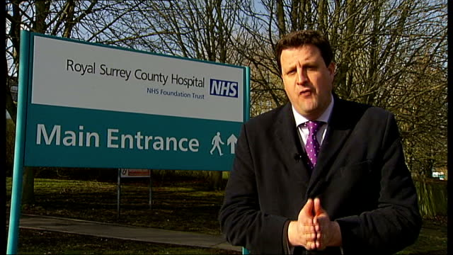 guildford royal surrey county hospital ext reporter to camera location unknown mike o'brien mp interview sot - guildford stock videos and b-roll footage
