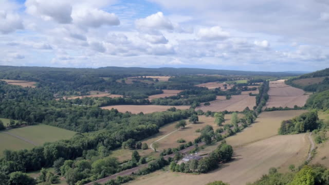 surrey hills, surrey, aerial view - hill stock videos & royalty-free footage