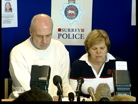 surrey: walton-on-thames: int sally and robert dowler at police press conference sally dowler press conference sot - sends a message to her daughter... - press room stock videos & royalty-free footage