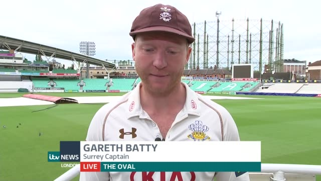 surrey win promotion to division one of the county championship england london gir int gareth batty live 2way interview from the oval sot - surrey england stock videos & royalty-free footage