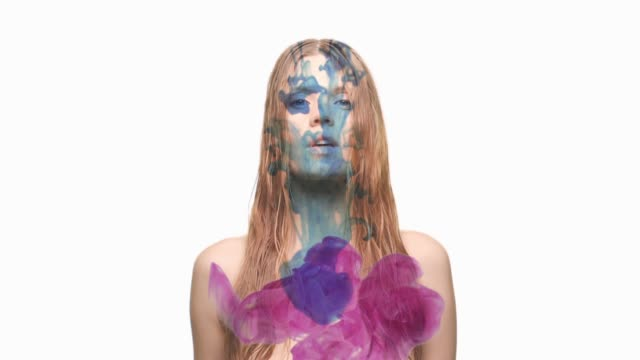 surrial portrait with double exposure - espirare video stock e b–roll