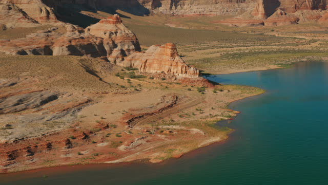 aerial surrounding landscape at lake powell in sunshine - lake powell stock videos & royalty-free footage