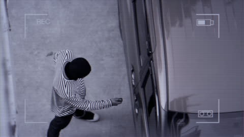 surveillance camera caught the thief try to steal the car. - iron bars for windows stock videos & royalty-free footage