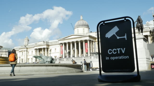 Surveillance Camera In London Trafalgar Square (UHD)