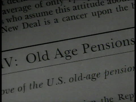 vídeos de stock, filmes e b-roll de survey 'old age pension.' vs elderly audience in auditorium, town meeting. franklin roosevelt's new deal, retirement, retirees, retirement plan. - new age