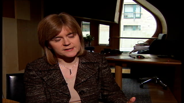 snp could top poll nicola sturgeon msp interview sot any political party that wins an election is entitled to put they key planks of it's election... - scottish national party stock videos & royalty-free footage