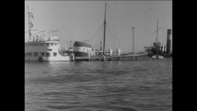 surveying shipwrecks from the sabotage in the canal / port said, egypt - suez canal stock videos & royalty-free footage