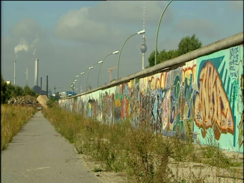 Surviving graffiti-covered section of Berlin Wall stretching into distance with Berlin Television Tower in background.