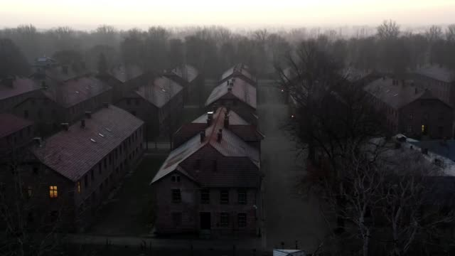 survivors join world leaders to commemorate liberation of auschwitz 75 years on; poland: auschwitz concentration camp: ext air views / aerials /... - concentration stock videos & royalty-free footage