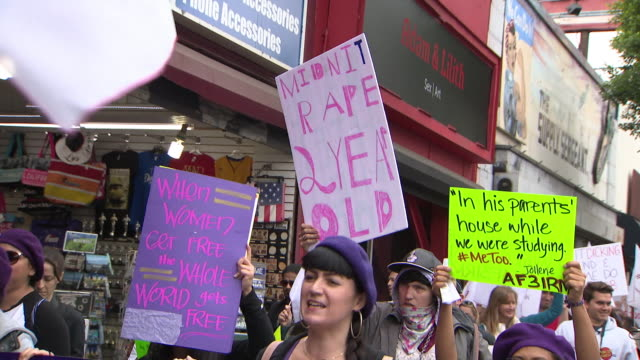 ktla survivors of sexual assault harassment come together for #metoo march in hollywood - marciare video stock e b–roll
