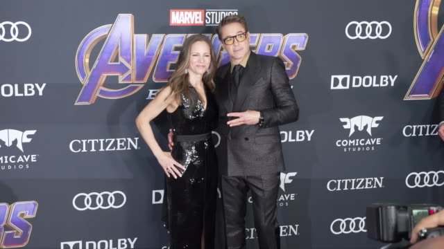 "susan downey and robert downey jr. at the world premiere of marvel studios' ""avengers: endgame"" at los angeles convention center on april 22, 2019 in... - premiere stock videos & royalty-free footage"