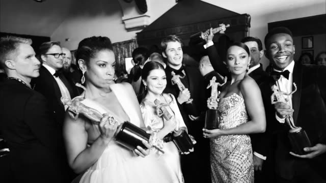 susan kelechi watson, hannah zeile, logan shroyer, melanie liburd and niles fitch attend the 25th annual screen actorsguild awards at the shrine... - screen actors guild stock videos & royalty-free footage