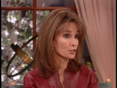 susan lucci recalls the birth of her son there is an closeup shot of susan lucci sitting in a chair. she says, but when he was born, they came to me... - soap opera stock videos & royalty-free footage