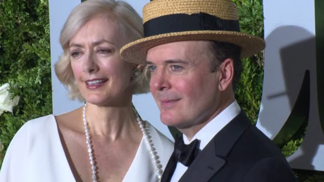 susan lyons and jefferson mays at 2017 tony awards - red carpet at radio city music hall on june 11, 2017 in new york city. - radio city music hall stock videos & royalty-free footage