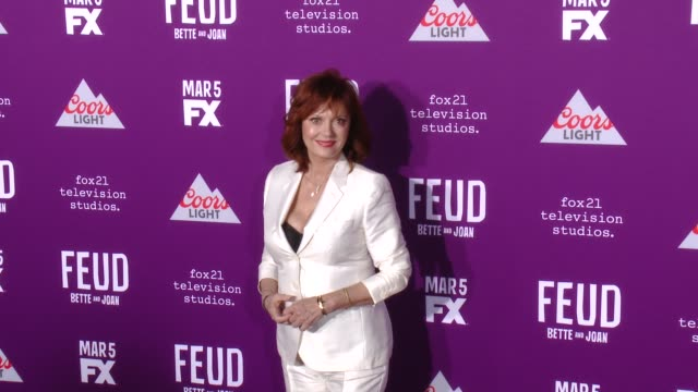 """susan sarandon at premiere of fx network's """"feud: bette and joan"""" in los angeles, ca 3/1/17 - fx network stock videos & royalty-free footage"""