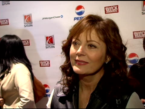 susan sarandon discusses how she came to work with the brick awards, the kids who are receiving the awards and what they've been able to accomplish... - new age stock-videos und b-roll-filmmaterial