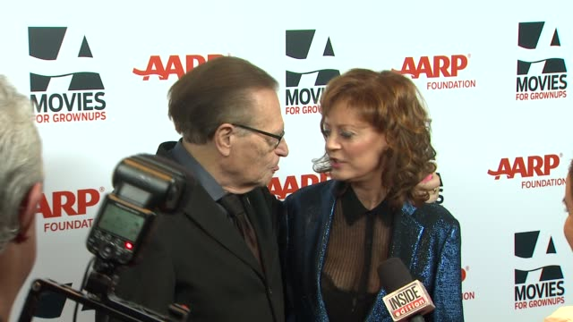 susan sarandon, larry king at 13th annual aarp's movies for grownups awards gala at regent beverly wilshire hotel on in beverly hills, california. - regent beverly wilshire hotel stock videos & royalty-free footage