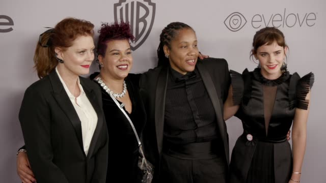 susan sarandon rosa clemente marai larasi emma watson at the warner bros pictures and instyle host 19th annual postgolden globes party at the beverly... - golden globe awards stock videos & royalty-free footage