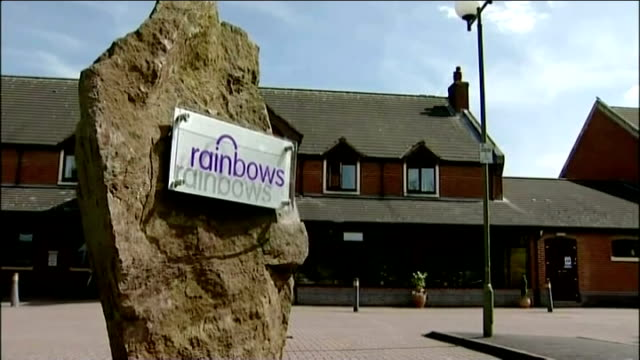 Susan Taylor dies during charity English Channel swim father pays tribute ENGLAND Leicestershire Barwell Exterior of Rainbows Hospice Sign 'Rainbows'...