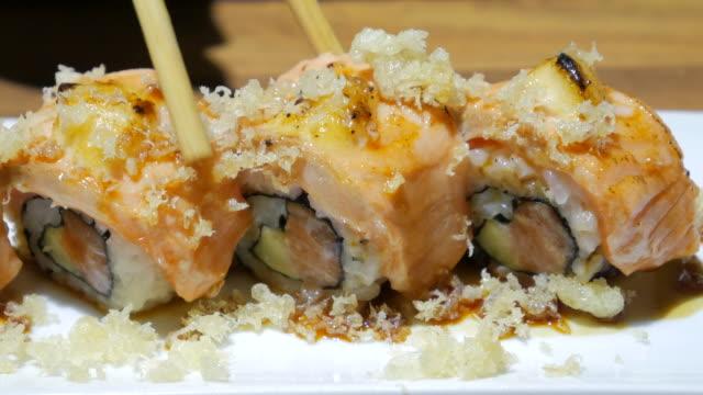 Sushi bar Japanese Food at Japanese restaurant , 4k(UHD)